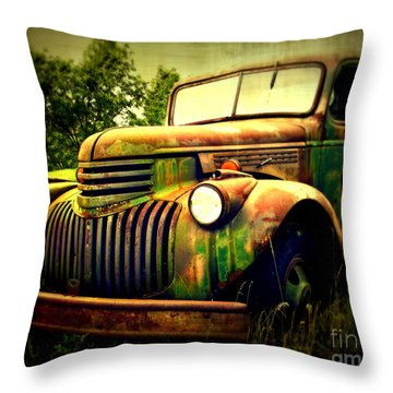 Old Flatbed 2 Throw Pillow by Perry Webster