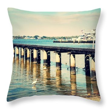 Old Fort Myers Pier With Ibises Throw Pillow by Carol Groenen