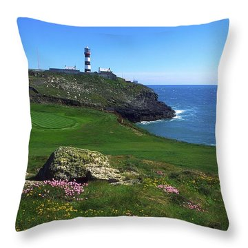 Old Head Of Kinsale Lighthouse Throw Pillow by The Irish Image Collection