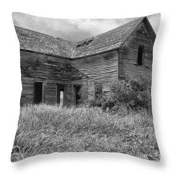 Old Montana Farmhouse Throw Pillow by Sandra Bronstein