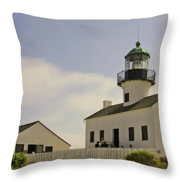 Old Point Loma Lighthouse - Cabrillo National Monument San Diego Ca Throw Pillow by Christine Till