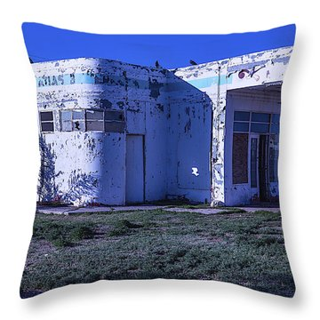 Old Run Down Gas Station Throw Pillow by Garry Gay