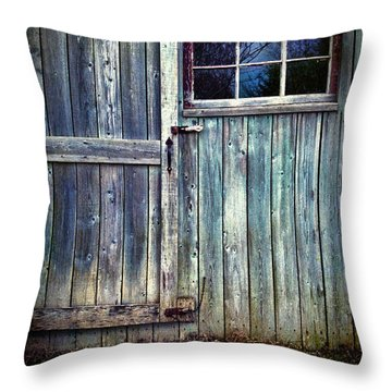 Old Shed Door With Spooky Shadow In Window Throw Pillow by Sandra Cunningham