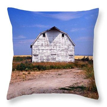 Old White Barn Throw Pillow by Kathy Yates