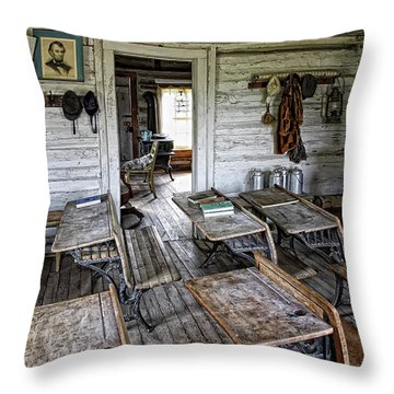 Oldest School House C. 1863 - Montana Territory Throw Pillow by Daniel Hagerman