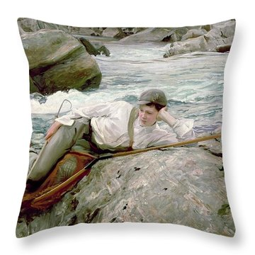 On His Holidays Throw Pillow by John Singer Sargent