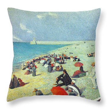 On The Beach Throw Pillow by Leon Pourtau