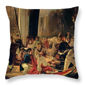On The Deck During A Sea Battle Throw Pillow by Francois Auguste Biard