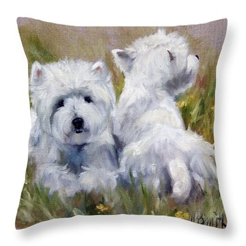 On The Lawn Throw Pillow by Mary Sparrow
