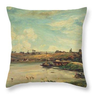 On The Loire Throw Pillow by Charles Francois Daubigny