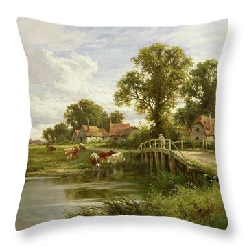 On The Thames Near Marlow Throw Pillow by Henry Parker
