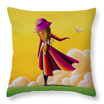 On The Wings Of A Dove Throw Pillow by Cindy Thornton