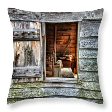 Open Window In Pioneer Home Throw Pillow by Jill Battaglia