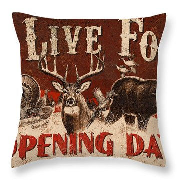 Opening Day Sign Throw Pillow by JQ Licensing