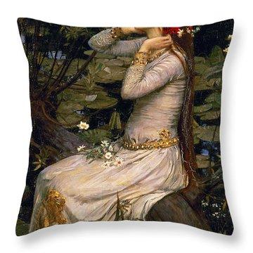 Ophelia Throw Pillow by John William Waterhouse