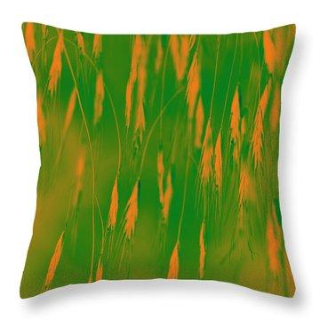 Orange Grass Spikes Throw Pillow by Heiko Koehrer-Wagner