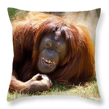 Orangutan In The Grass Throw Pillow by Garry Gay
