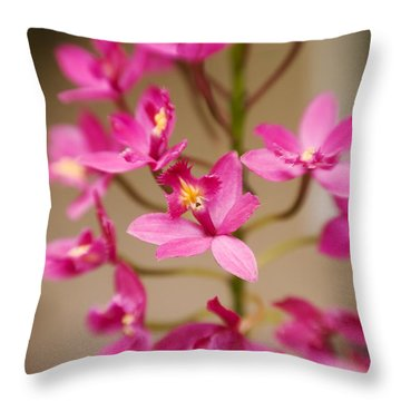 Orchids On Stem Throw Pillow by Ron Dahlquist - Printscapes
