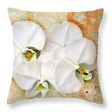 Orchids Upon The Rough Throw Pillow by Andee Design
