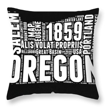 Oregon Black And White Map Throw Pillow by Naxart Studio
