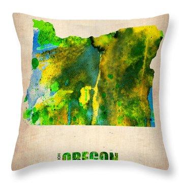 Oregon Watercolor Map Throw Pillow by Naxart Studio