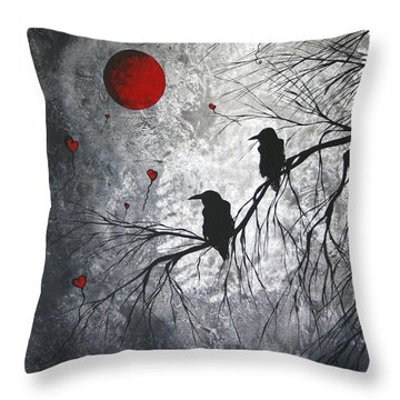 Original Abstract Surreal Raven Red Blood Moon Painting The Overseers By Madart Throw Pillow by Megan Duncanson