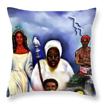 Orishas Throw Pillow by Carmen Cordova