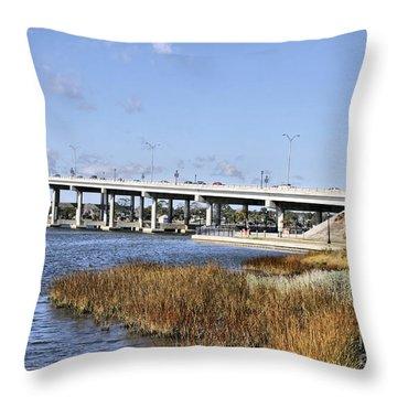 Ormond Beach Bridge Throw Pillow by Deborah Benoit