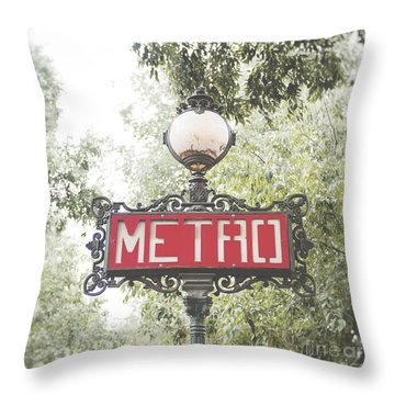 Ornate Paris Metro Sign Throw Pillow by Ivy Ho