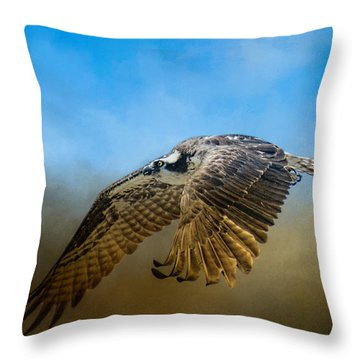 Osprey Over Pickwick Throw Pillow by Jai Johnson