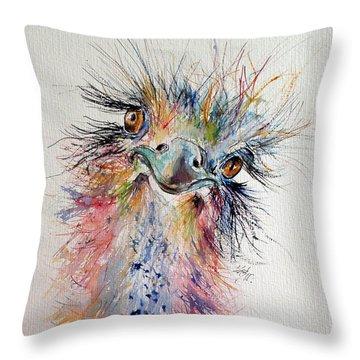 Ostrich Throw Pillow by Kovacs Anna Brigitta