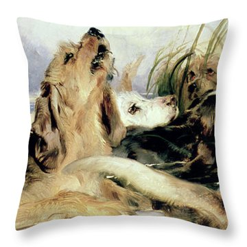 Otter Hounds Throw Pillow by Sir Edwin Landseer