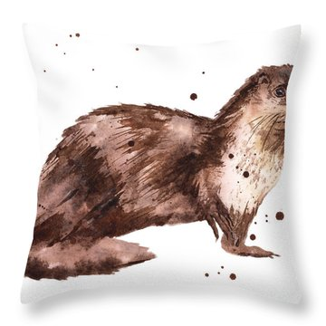 Otter Painting Throw Pillow by Alison Fennell