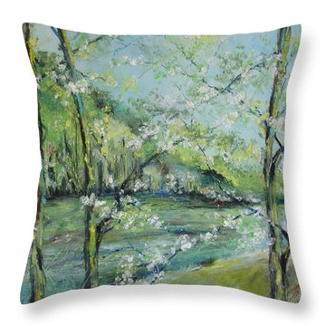 Ouachita River In Spring Throw Pillow by Robin Miller-Bookhout