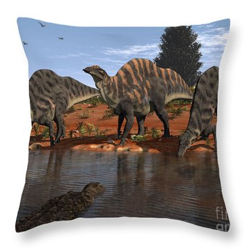 Ouranosaurus Drink At A Watering Hole Throw Pillow by Walter Myers