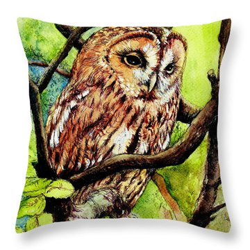 Owl From Butterfingers And Secrets Throw Pillow by Morgan Fitzsimons
