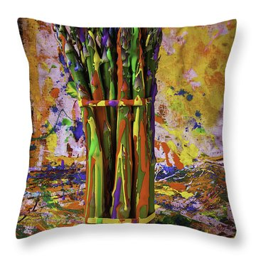 Painted Asparagus Throw Pillow by Garry Gay