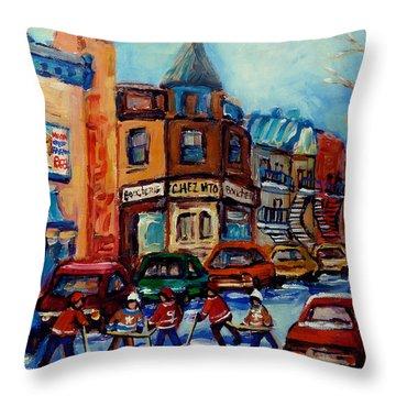 Paintings Of Montreal Hockey On Fairmount Street Throw Pillow by Carole Spandau