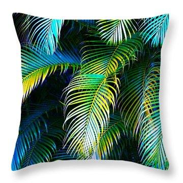 Palm Leaves In Blue Throw Pillow by Karon Melillo DeVega