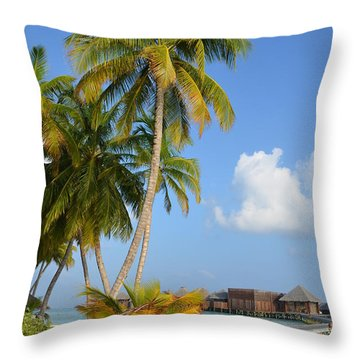 Palm Paradise Throw Pillow by Corinne Rhode