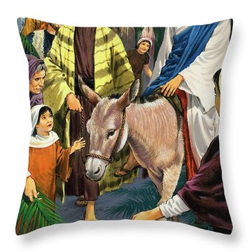 Palm Sunday Throw Pillow by Clive Uptton