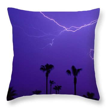 Palm Trees And Spider Lightning Striking Throw Pillow by James BO  Insogna