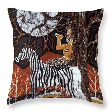 Pan Calls The Moon From Zebra Throw Pillow by Carol Law Conklin