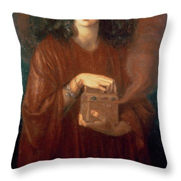 Pandora Throw Pillow by Dante Charles Gabriel Rossetti