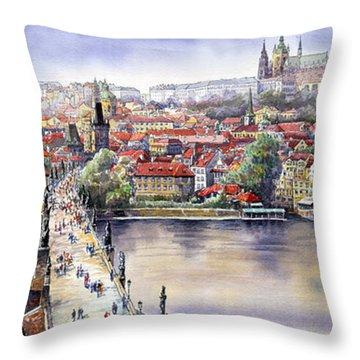 Panorama With Vltava River Charles Bridge And Prague Castle St Vit Throw Pillow by Yuriy  Shevchuk