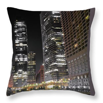 Panoramic Lakefront View In Chicago Throw Pillow by Frozen in Time Fine Art Photography