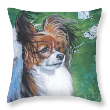 Papillon And Butterflies Throw Pillow by Lee Ann Shepard
