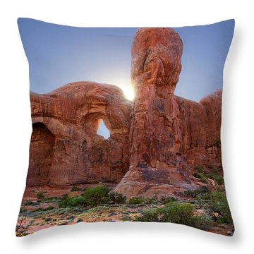 Parade Of Elephants In Arches National Park Throw Pillow by Mike McGlothlen