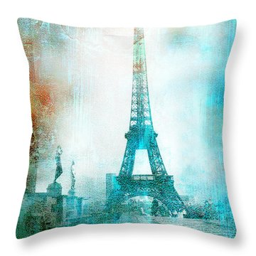 Paris Eiffel Tower Aqua Impressionistic Abstract Throw Pillow by Kathy Fornal