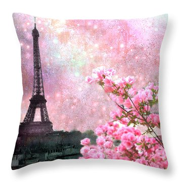 Paris Eiffel Tower Cherry Blossoms - Paris Spring Eiffel Tower Pink Blossoms  Throw Pillow by Kathy Fornal